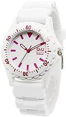 [キューアンドキュー]Q&Q 腕時計 10気圧防水 ウレタンバンド メンズ レディース VR38-919 ホワイト ピンク [国内正規品]