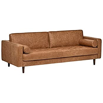 "Rivet Aiden Tufted Mid-Century Leather Bench Seat Sofa, 86.6"" W, Cognac"