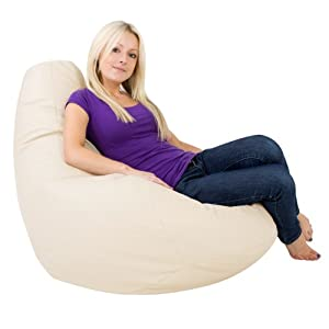 Bean Bag Bazaar® Gaming Bean Bag Designer Recliner CREAM Faux Leather - Extra Large Beanbag Chair
