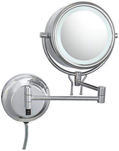 "Chrome Pivoting 8"" Wide Wall Mounted Plug-In Mirror"