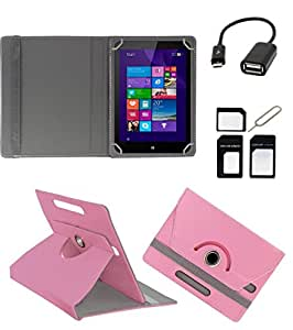 ECellStreet ROTATING 360° PU LEATHER FLIP CASE COVER FOR iBall Slide i701 7 INCH TABLET STAND COVER HOLDER - Light Pink + Free OTG Cable + Free Sim Adapter Kit
