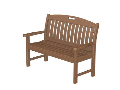 Recycled Plastic Nautical 48″ Bench by Polywood Frame Color: Teak