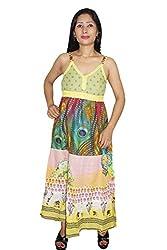 Indiatrendzs Women Dresses Floral Print Yellow Casual Wear Cotton Maxi Dress