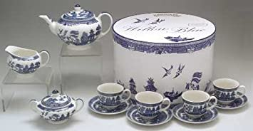 Johnson Brothers Willow-Blue (England 1883 Backstamp) Tea Set-13pc