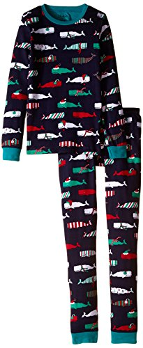 Hatley Little Boys' Pajama Set Overall Scarf Whales, Blue, 2