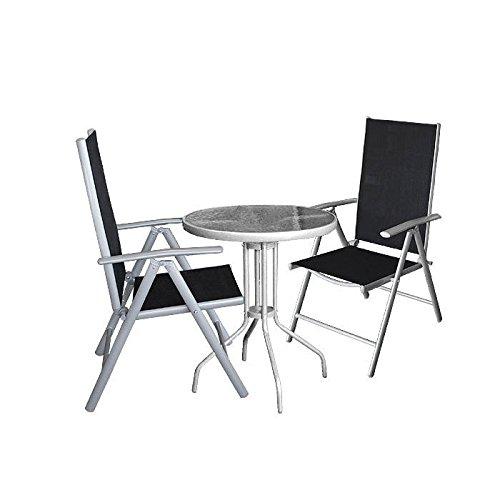 3tlg. Balkonmöbel Set - Glastisch Ø60cm + 2x Hochlehner - Gartenmöbel Terrassenmöbel Gartengarnitur Campingmöbel Sitzgruppe Sitzgarnitur