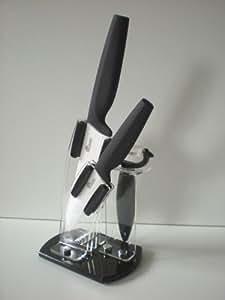 Pradel Excellence 222621 Bloc Plexi de 2 Couteaux de Cuisine + Éplucheur Lame Céramique