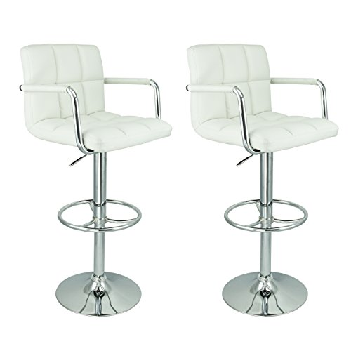2 Swivel Bar Stool White w/ Arm PU Leather Modern Adjustable Hydraulic Barstool Leather Adjustable Arms