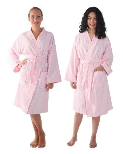 Women's and Men's Kimono-Bathrobe [Style Archee] - 100% Cotton, Pink, Large/X-Large