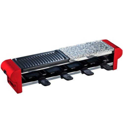 RP4 Raclette-Gerät für 4 Personen mit Steingrill und Grillplatte, 600 W, rot