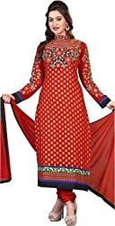 silvermoon fashion women's Georgette Embroderied Unstitched Dress Material -1040_red_Freesize