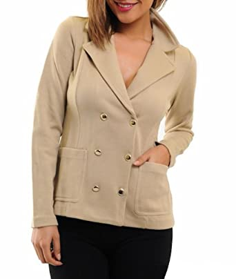 G2 Chic Women's Double Breasted Knit Peacoat with Front Pockets(OW-JKT,LBN-XS)