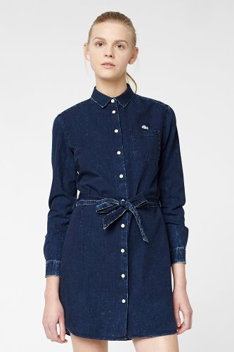 L!VE Long Sleeve Button Down Denim Woven Dress