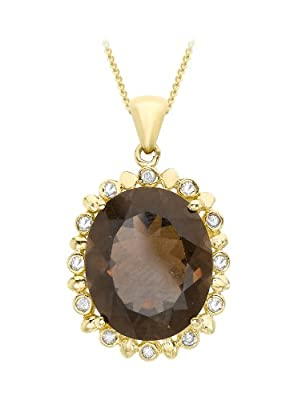 Carissima 9ct Yellow Gold 0.06ct Diamond and Smoky Quartz Pendant on Chain Necklace 46cm/18""