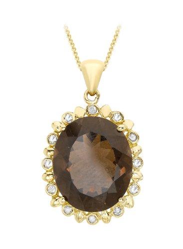 9ct Yellow Gold 0.06ct Diamond and Smoky Quartz Pendant on Chain Necklace 46cm/18