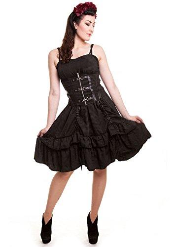 Vixxsin sirena gotico Steampunk Pinstripe lunghezza regolabile corsetto, colore: nero Black X-Large