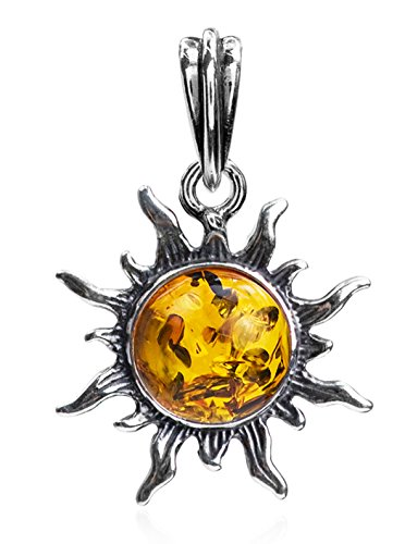 Amber and Sterling Silver Small Sun Pendant
