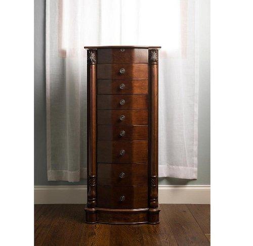Louis VuittonLarge Floor Standing 8 Drawer Wooden Jewelry Armoire with Mirror & Lock - Walnut Finish