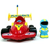 "4"" Cartoon Remote Control R/C Formula Race Car Toy For Toddlers Red"