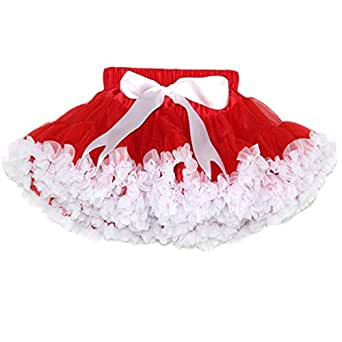 Buenos Ninos Baby Girls Tutus Chiffon Pettiskirt Size 9-10T Red with White Ruffle