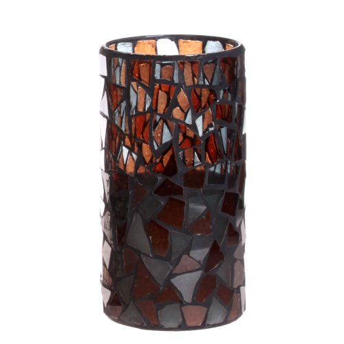 Dfl 3*6 Inch Irregular Brown Color Mosaic Glass With Flameless Led Candle With Timer,Work With 2 C Battery