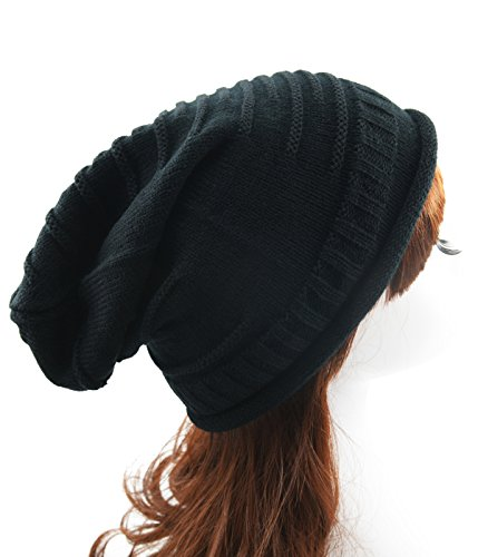 Women's Supersoft Warm Knit Wrinkle Cap Slouchy Baggy Acrylic Skull Hat Beanie Black