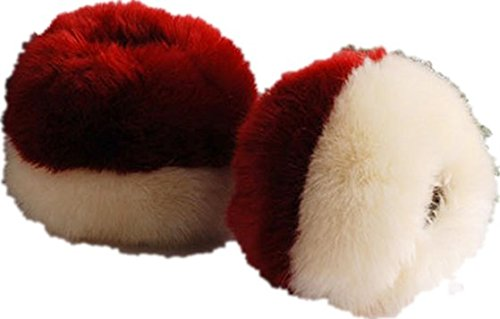 Faux Rabbit Fur Wrist Band Warm Arm Warmer Fluffy Cuffs Beige And Wine Red