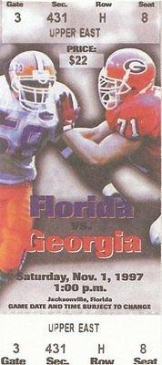 1997 Florida vs Georgia Football Ticket Official Reproduction (Georgia Football Tickets compare prices)