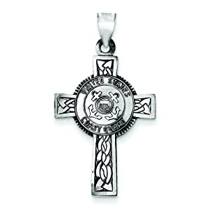Sterling Silver US Coast Guard Cross Charm Jewelry