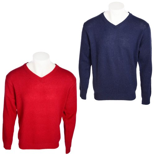 Harbour Collection Men's 2 Pack Red & Navy 100% Lambswool Jumpers in Size XXXLarge