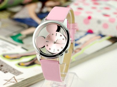 Pink Fashion Cow Leather Strap Casual Cutout Strap Women'S Children'S Cartoon Digital Watches Lover'S Wristwatches