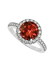 Cubic Zirconia And Centered Garnet In 925 Sterling Silver Halo Engagement Ring 2.50 CT TGW
