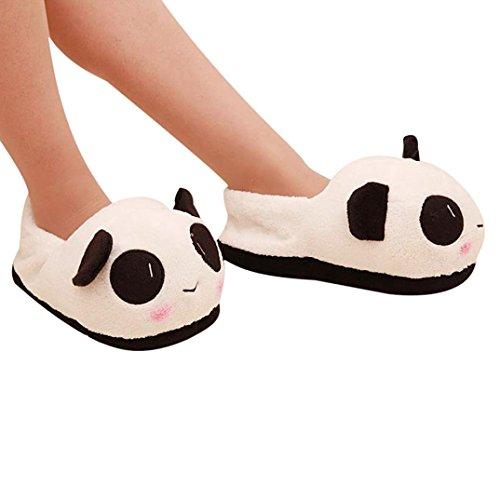 DDLBiz® uomo e donna Panda caldi di inverno della peluche antisdrucciolevole Interni Casa Pantofole (36-39 (donna))