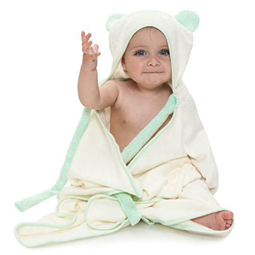 Ha&Da Hooded Bamboo Baby Bath Towel - Boys & Girls, Baby Shower Gift, Ties on Parent's Neck, Bonus eBook