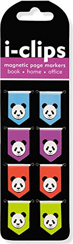 Panda i-clips Magnetic Page Markers (Set of 8 Magnetic Bookmarks)