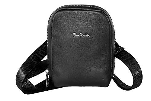 Mini tracolla uomo PIERRE CARDIN nera vera pelle borsello piatto bandoliera F521