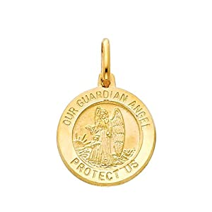 14K Yellow Gold Medium Religious Our Guardian Angel Medal Charm Pendant