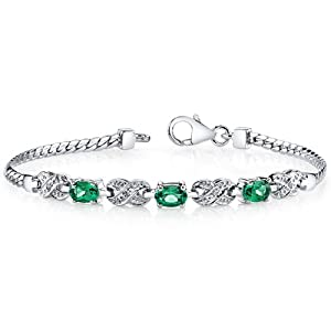 Luxurious Oval Cut Created Emerald & White CZ Gemstone Bracelet in Sterling Silver Rhodium Nickel Finish from Peora