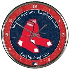 Boston Red Sox Round Chrome Wall Clock by Hall of Fame Memorabilia