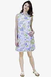 Caribbean Joe Women Lettuce Green Floral Shirt Dress