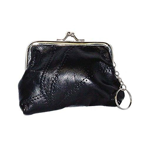 Black Leather Coin Purse with Clutch Clasp - Model #7057