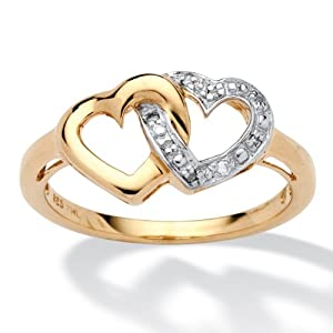 White Diamond Accent 18k Gold over .925 Sterling Silver Locking Heart Promise Ring
