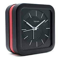 JCC Loud Melody Alarm Square Non Ticking Silent Quartz Analog Travel Bedside Desk Alarm Clock with Snooze and Night Light Function, Battery Operated, Simple to Use (Black-hot Pink)