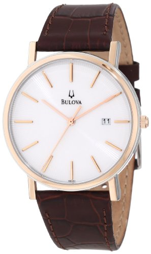 Bulova Men's 98H51 Brown Crocodile Leather Quartz Watch with White Dial