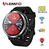 LEMFO LEM8 Smart Watch, Android 7.1.1 4G LTE, 2 MP Camera of Watch Phone, MT6739,2GB + 16GB, 580Mah Battery Bluetooth/GPS/Heart Rate Monitor for Man Woman Black (Color: Black)