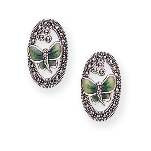 Goldmajor-Marcasite-925-Sterling-Silver-with-Green-Enamel-Butterfly-Stud-Earri