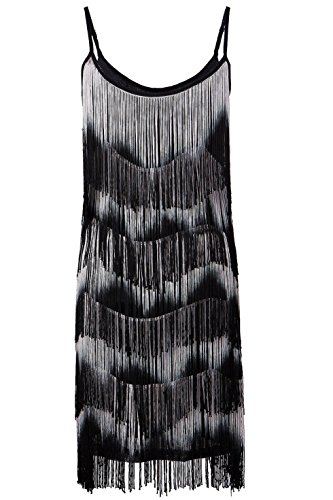 Vikoros Women 1920s Flapper Girl Fringe Tassel Charleston Party Cocktail Dress