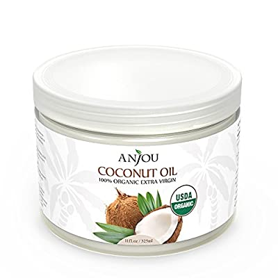 Anjou Coconut Oil, Organic Extra Virgin, Cold Pressed Unrefined for Hair, Skin, Cooking, Health, Beauty, USDA Certified, 11oz by Anjou