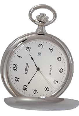 Bernex Pocket Watch GB21224 Chrome Plated Full Hunter