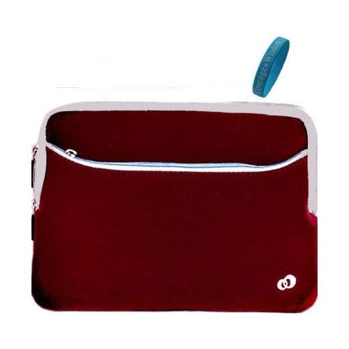 Dell Inspiron Dual Pocket Microfiber Red Neoprene Sleeve Carry Case for Dell Inspiron Mini IM10 2863 10 Inch Netbook + Bonus Wristband